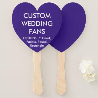 ファンを結婚するカスタムで名前入りなインディゴのハート ハンドファン