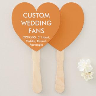 ファンを結婚するカスタムで名前入りなオレンジハート ハンドファン
