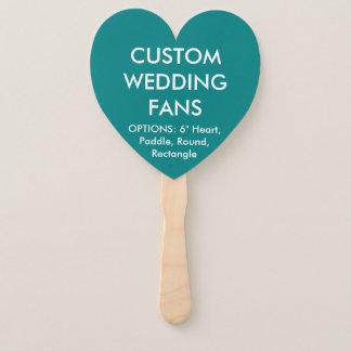 ファンを結婚するカスタムで名前入りなティール(緑がかった色)のハート ハンドファン