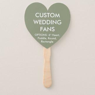 ファンを結婚するカスタムで名前入りな緑のハート ハンドファン