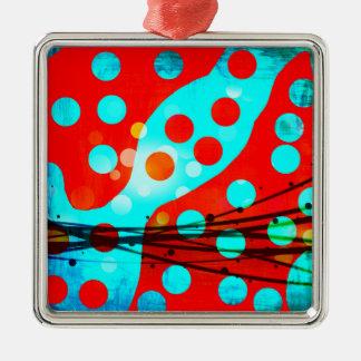 ファンキーではっきりしたで赤い青の抽象芸術の水玉模様のデザイン シルバーカラー正方形オーナメント