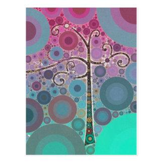 ファンキーでカラフルなスクロール木は泡ポップアートを一周します ポストカード
