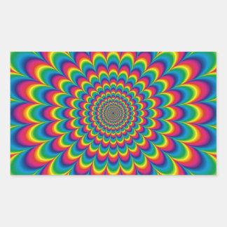 ファンキーでサイケデリックな色のFest 長方形シール