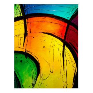 ファンキーで明るい色の抽象美術 ポストカード