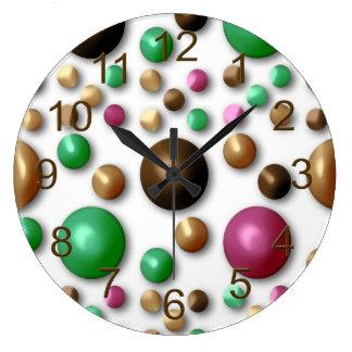 ファンキーで粋なレトロの抽象芸術パターン ラージ壁時計