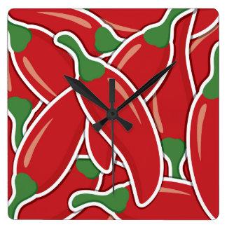 ファンキーで赤いチリペッパー スクエア壁時計