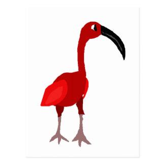 ファンキーで赤いトキ亜科の鳥の原住民の芸術 ポストカード