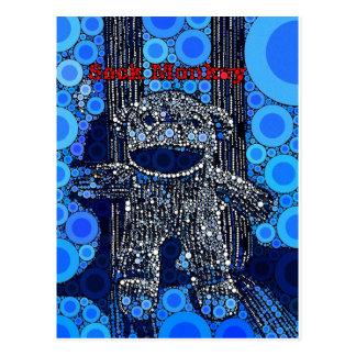 ファンキーで青いソックス猿は泡ポップアートを一周します ポストカード