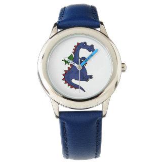 ファンキーで青いドラゴンの腕時計 腕時計