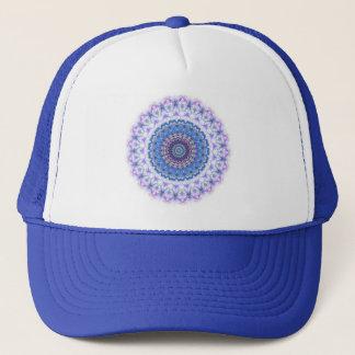 ファンキーで青および紫色の万華鏡のように千変万化するパターンの曼荼羅の帽子 キャップ