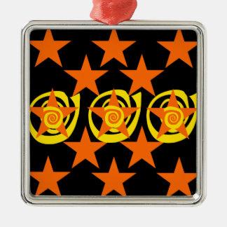 ファンキーなオレンジおよび黒い星の渦巻パターン メタルオーナメント