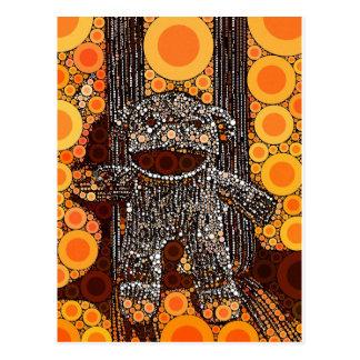 ファンキーなオレンジソックス猿は泡ポップアートを一周します ポストカード