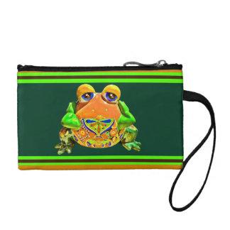 ファンキーなカエルのオレンジ緑のストライプのなノベルティのギフト コインパース