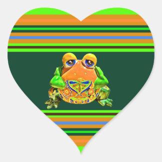 ファンキーなカエルのオレンジ緑のストライプのなノベルティのギフト ハートシール