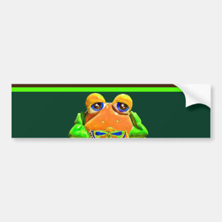 ファンキーなカエルのオレンジ緑のストライプのなノベルティのギフト バンパーステッカー
