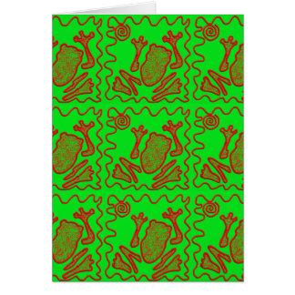 ファンキーなカエルのライムグリーンの赤いヒキガエルの子供の落書きの芸術 カード