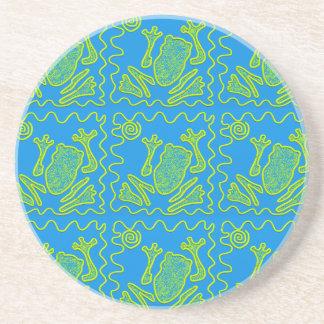 ファンキーなカエルの青緑のヒキガエルの子供の落書きの芸術 コースター