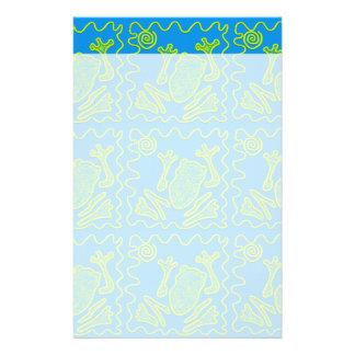 ファンキーなカエルの青緑のヒキガエルの子供の落書きの芸術 便箋