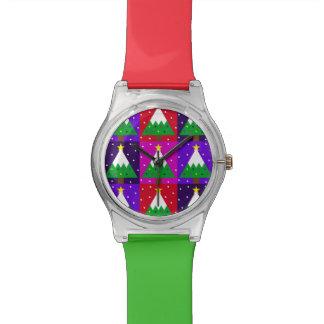 ファンキーなクリスマスツリーパターン 腕時計