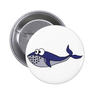 ファンキーなシロナガスクジラの漫画のデザイン 5.7CM 丸型バッジ