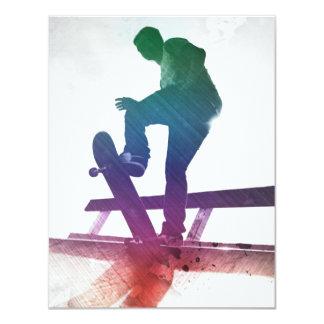 ファンキーなスケートボーダーのスケートの子供 10.8 X 14 インビテーションカード