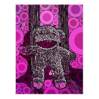 ファンキーなソックス猿は泡ポップアートを一周します ポストカード