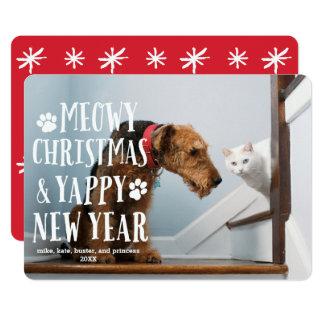 ファンキーなタイプ犬猫 の休日の写真カード カード