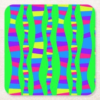 ファンキーなネオンはレトロのモダンなパターンをサイケデリック着色します スクエアペーパーコースター