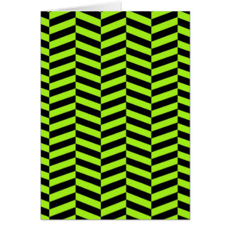 ファンキーなネオン緑および黒いジグザグ形シェブロン カード
