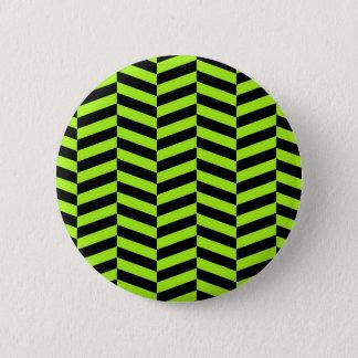 ファンキーなネオン緑および黒いジグザグ形シェブロン 5.7CM 丸型バッジ
