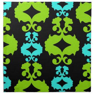 ファンキーなネオン緑のターコイズのティール(緑がかった色)のダマスク織パターン ナプキンクロス