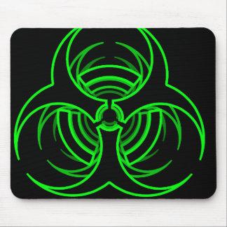 ファンキーなネオン緑の生物危険の記号 マウスパッド