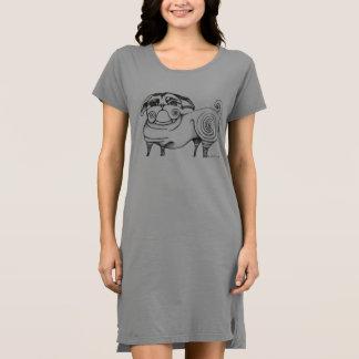 ファンキーなパグのスケッチのTシャツの服-灰色 ドレス
