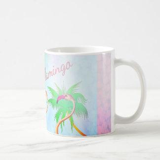 ファンキーなピンクのフラミンゴのヤシの木の青空 コーヒーマグカップ