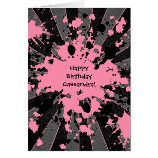 ファンキーなピンクのペンキの(ばちゃばちゃ)跳ねるのペイントボールのハッピーバースデー カード