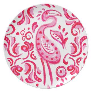 ファンキーなピンクのFlamigoのペイズリーパターン プレート