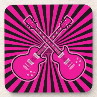 ファンキーなピンク及び黒いギター コースター