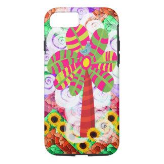 ファンキーなモザイク木のヒマワリの夏のiPhone 7の場合 iPhone 8/7ケース