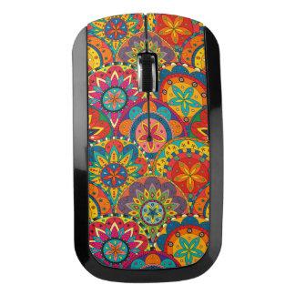 ファンキーなレトロのカラフルな曼荼羅パターン ワイヤレスマウス