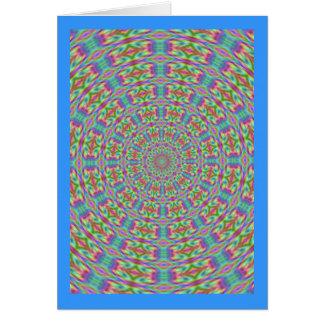 ファンキーなレトロの万華鏡のように千変万化するパターンのメッセージカード カード