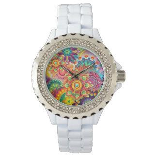 ファンキーなレトロパターン抽象芸術のボヘミア人 腕時計