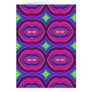 ファンキーなレトロパターン。 ピンク、紫色および多色刷り カード