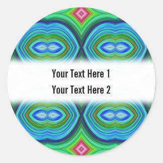 ファンキーなレトロパターン。 青、緑、ピンクおよび多 ラウンドシール