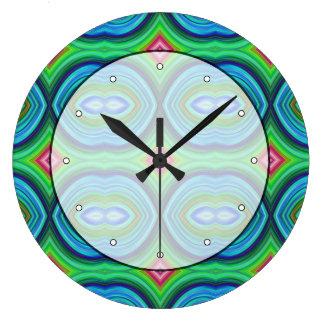 ファンキーなレトロパターン。 青、緑、ピンクおよび多 ラージ壁時計