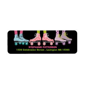 ファンキーな女の子のローラースケートで滑るの宛名ラベル ラベル