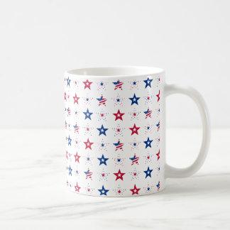 ファンキーな星条旗の繰り返しパターン コーヒーマグカップ