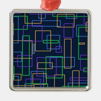 ファンキーな正方形 シルバーカラー正方形オーナメント