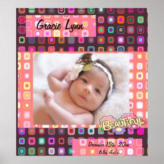 ファンキーな正方形、女の子の写真 ポスター