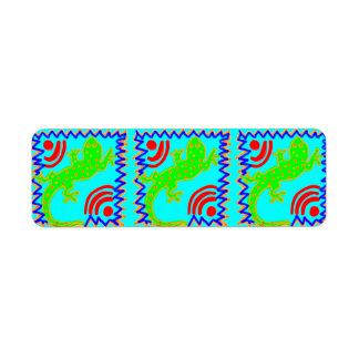 ファンキーな水玉模様のトカゲパターン動物のデザイン ラベル