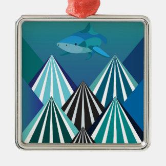 ファンキーな水Mountains.jpg シルバーカラー正方形オーナメント
